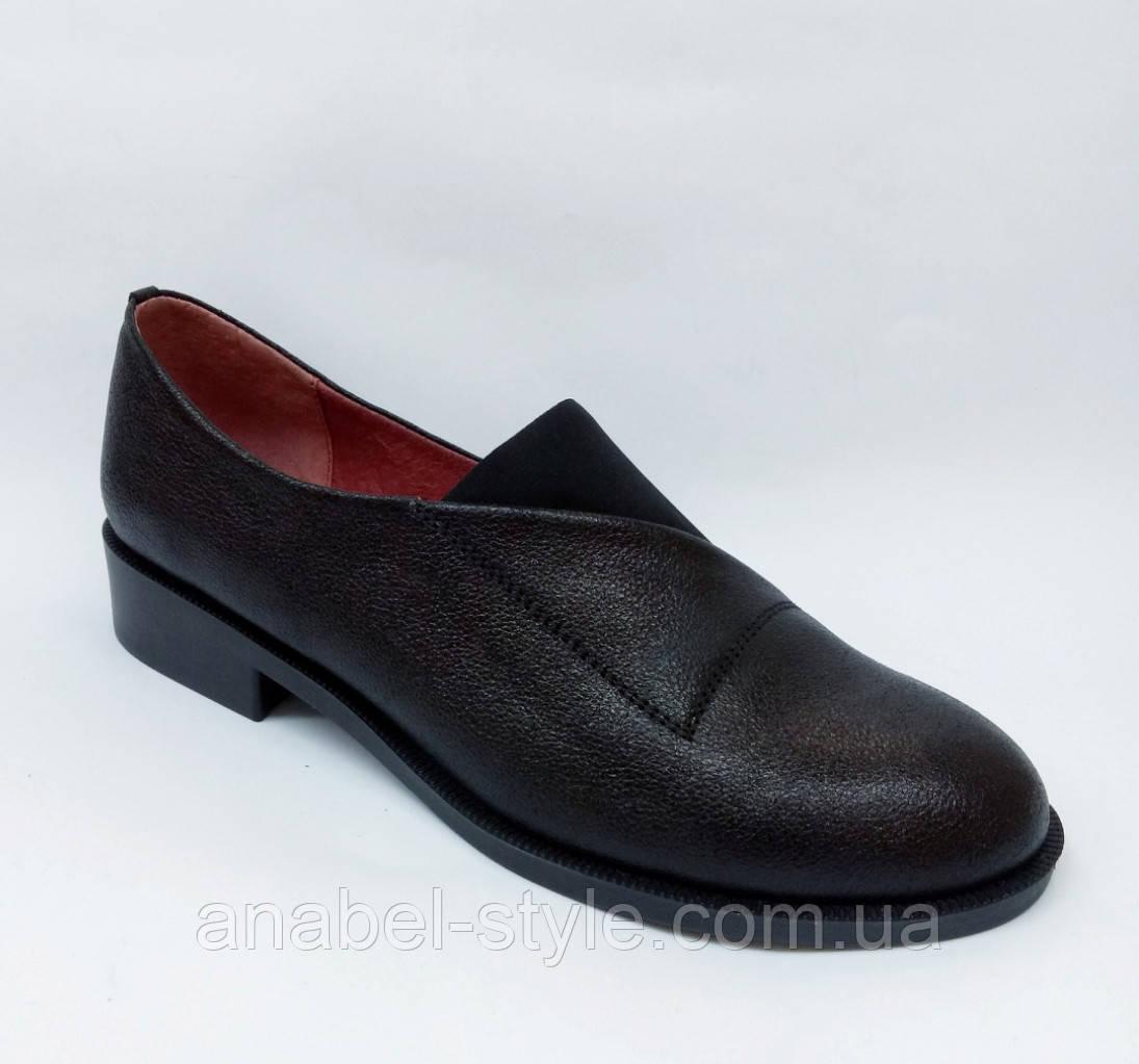 Туфли оксфорды из натуральной кожи на плоской подошве черные на резинке Код 1764 AR