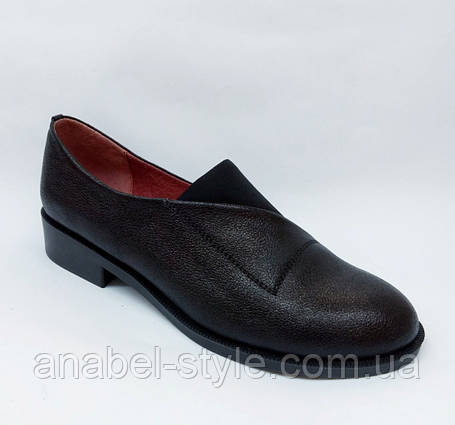 Туфли оксфорды из натуральной кожи на плоской подошве черные на резинке Код 1764 AR, фото 2