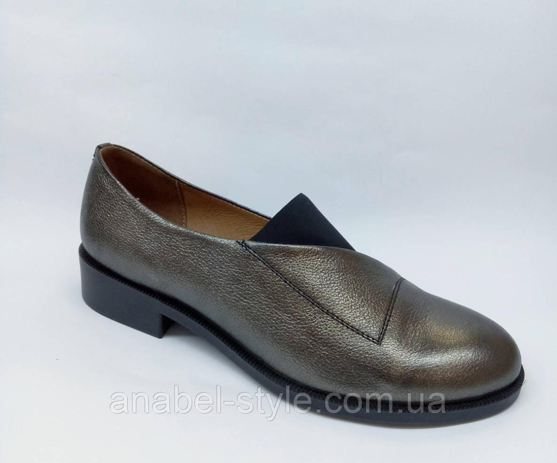 Туфли оксфорды из натуральной кожи на плоской подошве цвета никель на резинке Код 1765 AR