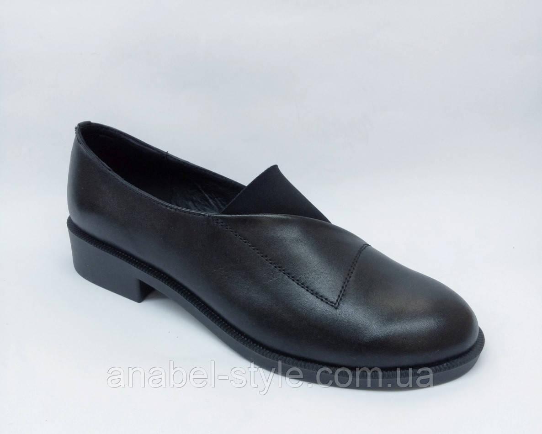 Туфли оксфорды из натуральной кожи на плоской подошве черного цвета на резинке Код 1766 AR