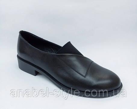 Туфли оксфорды из натуральной кожи на плоской подошве черного цвета на резинке Код 1766 AR, фото 2