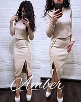 Замшевый женский юбочный костюм с кофтой 8KO777, фото 1