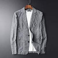 Стильный мужской пиджак  натуральный лен, уплотненный, цвет на выбор, осень-весна, фото 1