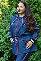 Женская джинсовая ветровка с капюшоном в батале 10BR990, фото 1