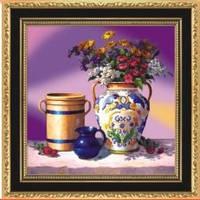 """Вышивка крестиком """"Натюрморт ваза с цветами"""" (готовая схема)"""