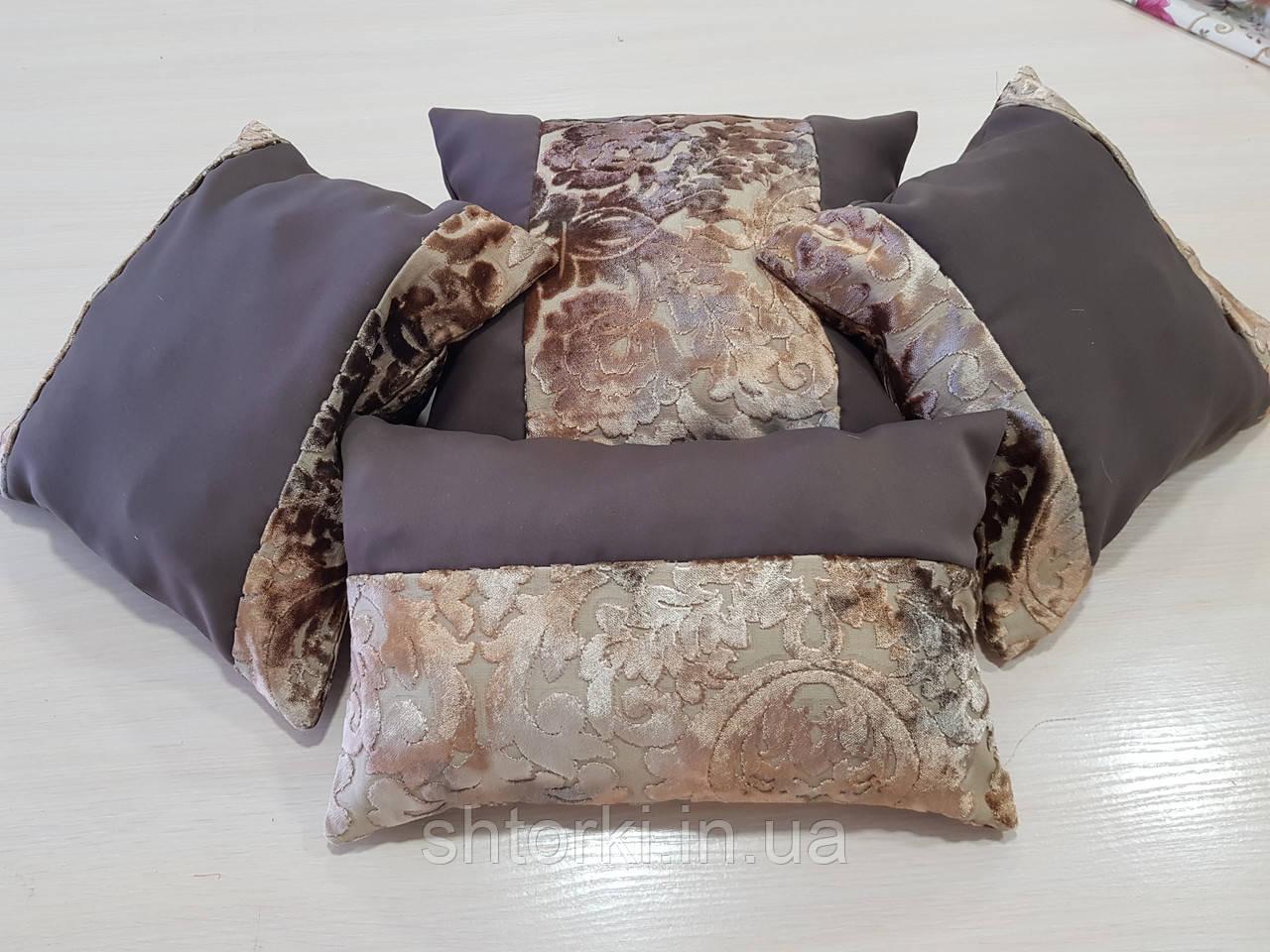 Комплект подушек шоколад Корона плюш 4шт