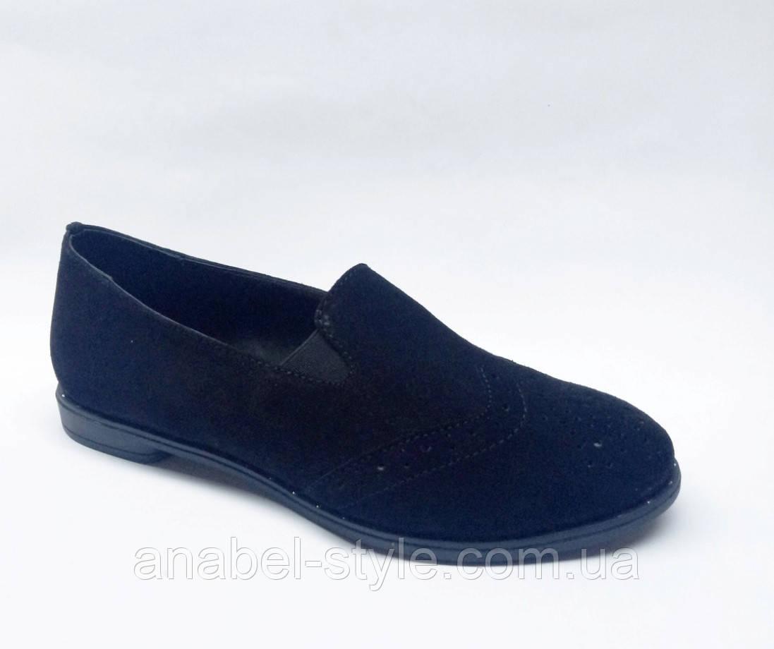 Туфли женские из натуральной замши на плоской подошве черного цвета  Код 1768 AR