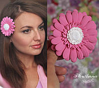 """Заколка цветок из полимерной глины """"Розовая гербера"""", фото 1"""