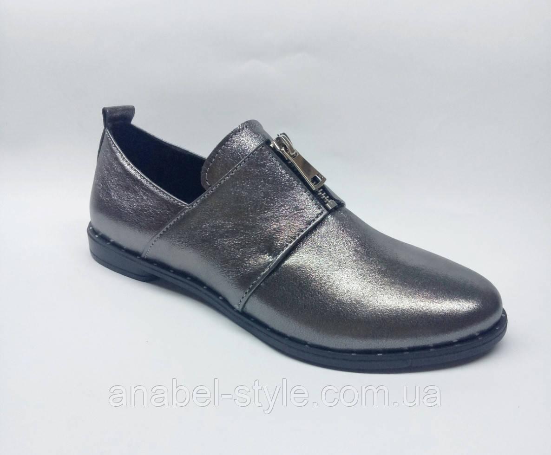 Туфли оксфорды из натуральной кожи на плоской подошве серебристые Код 1769 AR