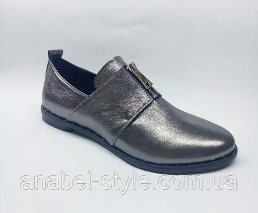 Туфли оксфорды из натуральной кожи на плоской подошве серебристые Код 1769 AR, фото 2