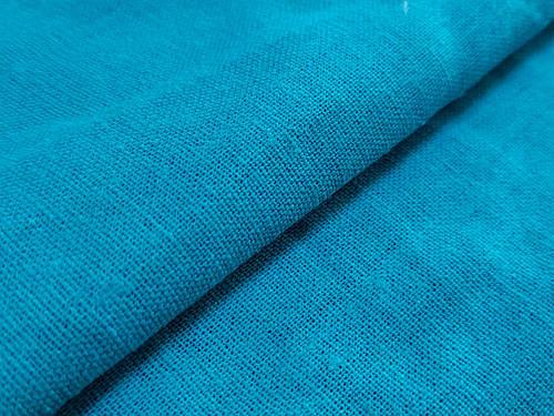 Ткань лен однотонный, бирюзово-голубой