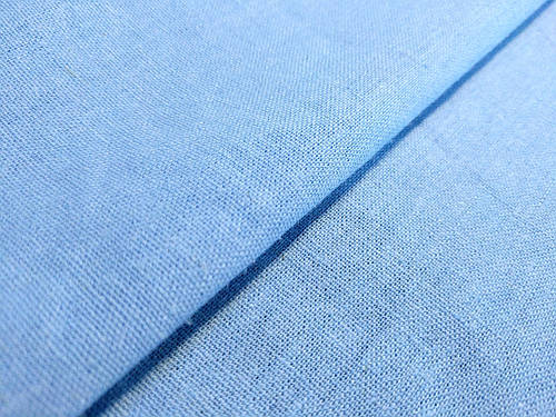 Ткань лен однотонный, голубой
