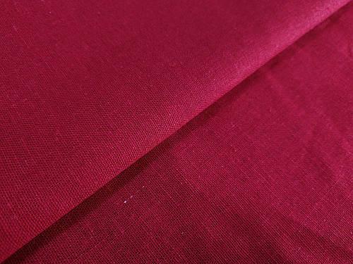 Ткань лен однотонный, красный