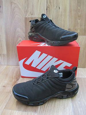 Мужские Кроссовки в стиле  Nike Air Max Тn черные нубук