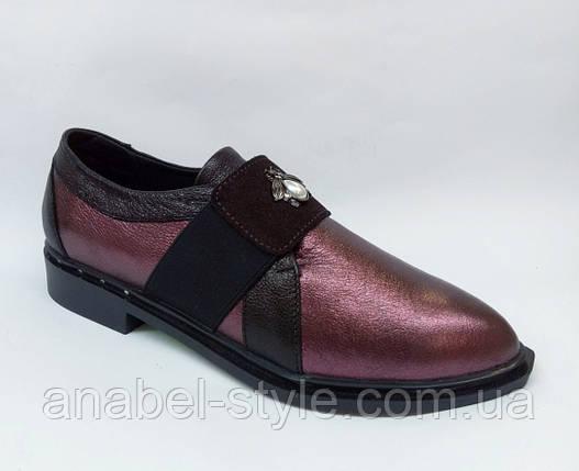Туфли на плоской подошве женские из натуральной кожи бордового цвета  Код 1770 AR, фото 2