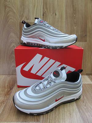 Мужские Кроссовкив стиле  Nike Air Max 97 серые кожа и сетка рефлектив