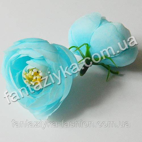 Цветок ранункулюса крупный 40мм, голубой