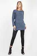 Удлиненный джемпер свитер женский свободного силуэта летучая мышь