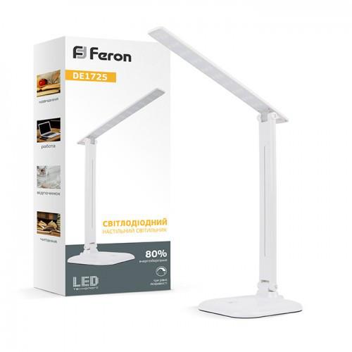 фото картинка Светодиодный настольный светильник Feron DE1725 9W 4000K Белый