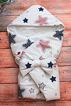 Конверт Одеяло для новорожденных на выписку с бантом и уголком осень/весна 78х78 см Звезда