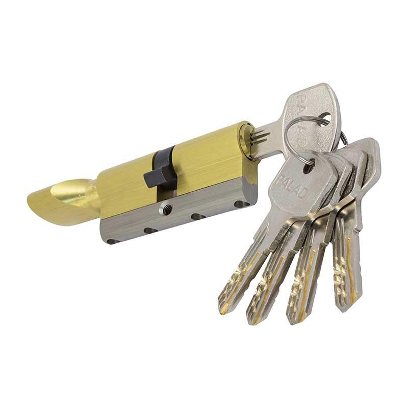 Цилиндровый механизм 70(35Тх35) Paladii с гибридным ключом и тумблером Золото