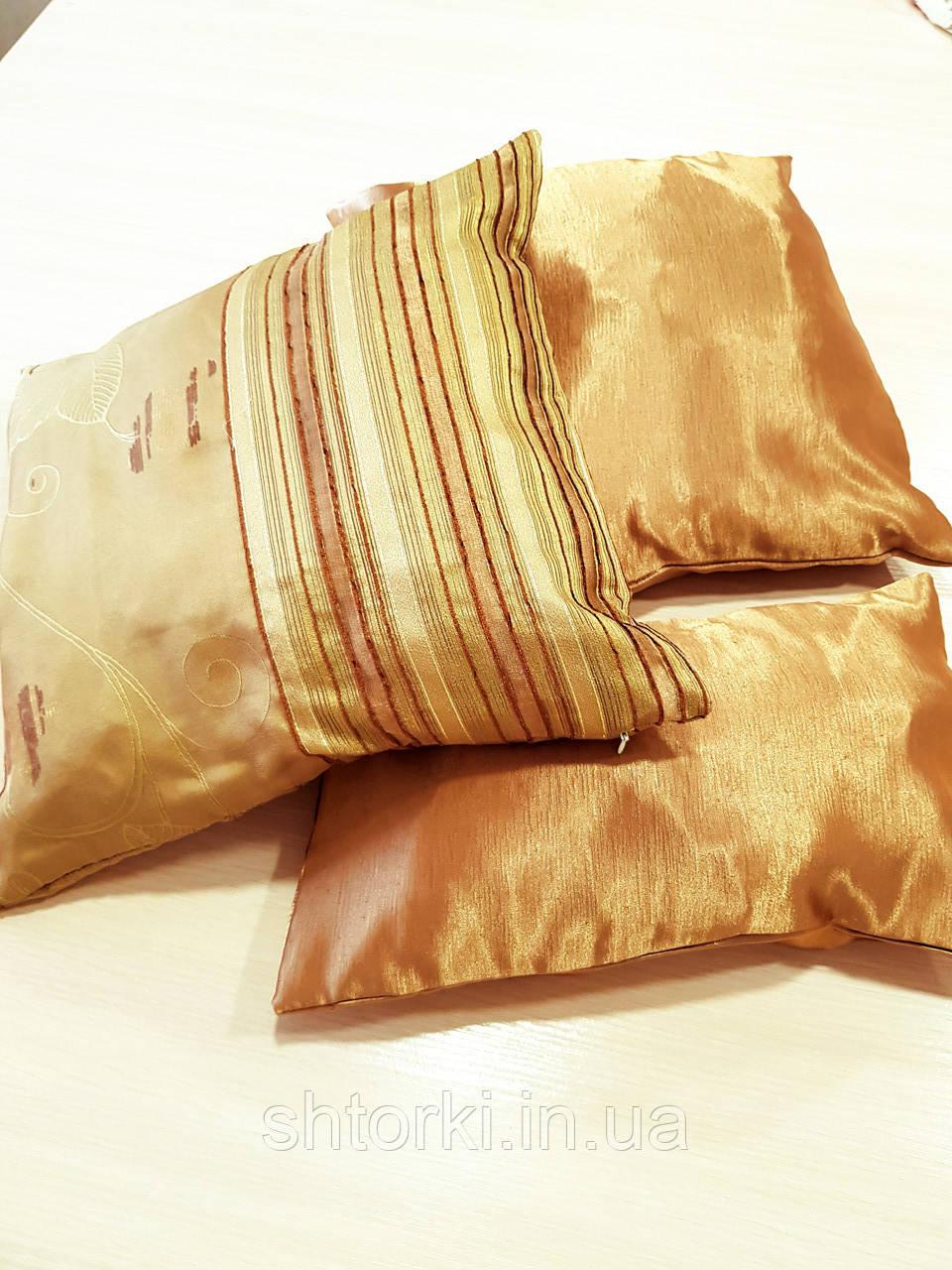 Комплект подушек  стелла с полоской золото 3шт