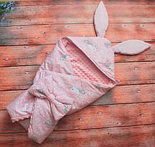 Осенний/весенний Конверт с капюшоном Зайчик  78х78см розовый