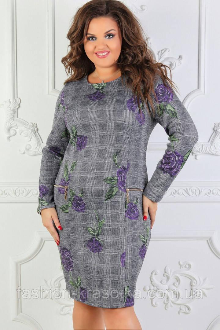 Нарядное платье ткань ангора софт ,принт в размерах 50-60
