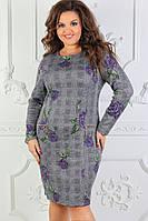 Нарядное платье ткань ангора софт ,принт в размерах 50-60, фото 1