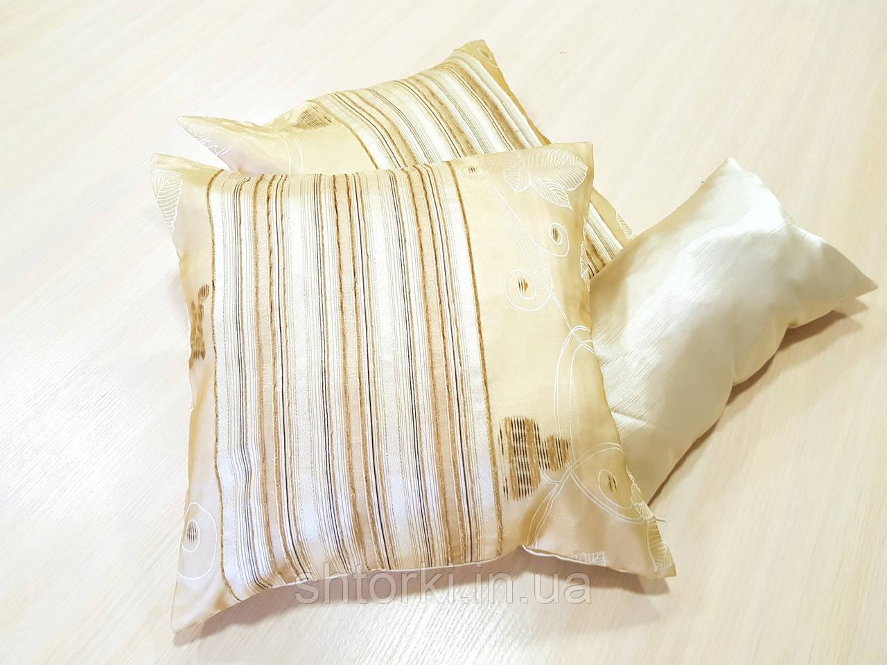 Комплект подушек  стелла с полоской молочная 3шт