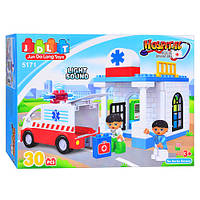 """Конструктор для самых маленьких с большими деталями JDLT (LEGO Duplo) """"Скорая помощь"""" 30 деталей, 5171"""