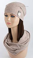 Комплект шапочка и хомут Зайка Soft светло-бежевого цвета