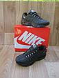 Мужские Кроссовки в стиле Nike Air Max 95 черные кожаные, фото 2