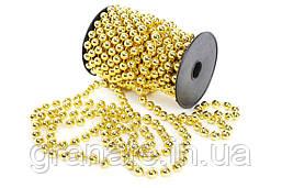 Бусы на ёлку, цвет: золото 10мм*10м (12шт в упаковке)