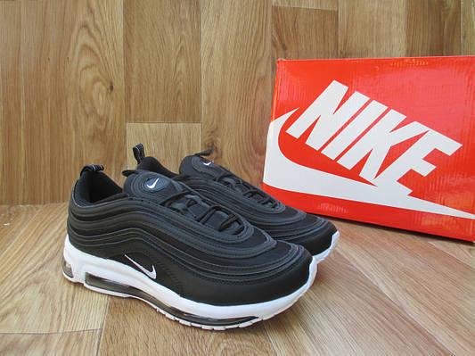 Мужские Кроссовкив стиле  Nike Air Max 97 черные с белым кожа и сетка