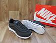 Мужские Кроссовкив стиле  Nike Air Max 97 черные с белым кожа и сетка, фото 5