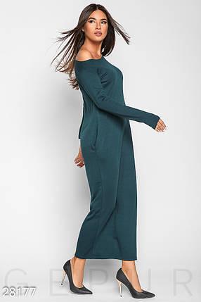 Осеннее теплое платье макси свободного кроя с длинным рукавом темно зеленое, фото 2
