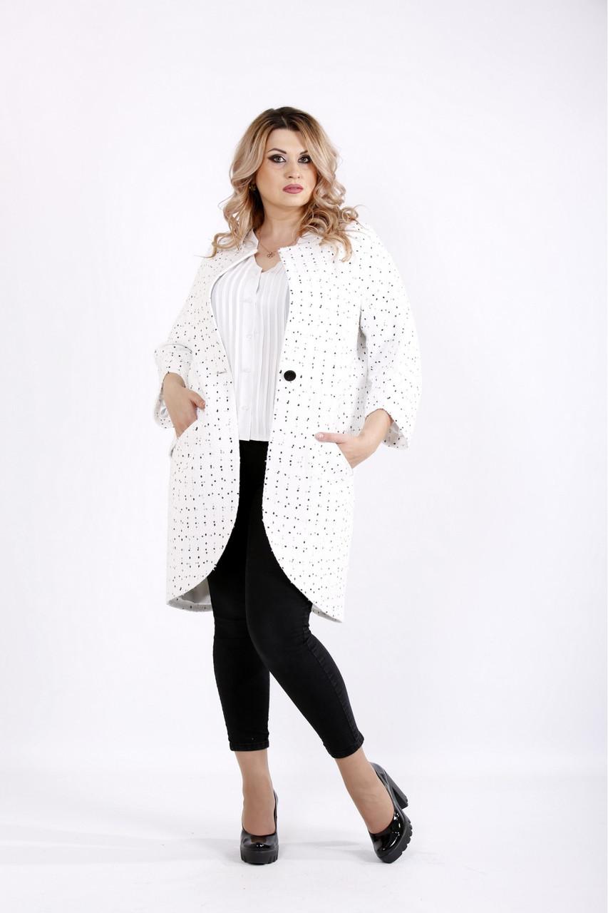 b373c76166e Женский демисезонное модное пальто белого цвета t0920   размер 42-74    большие размеры