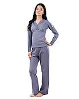 Женская хлопковая пижама с кружевом (S-2XL)