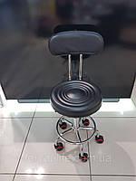Стул для мастера педикюра со спинкой  (черный)