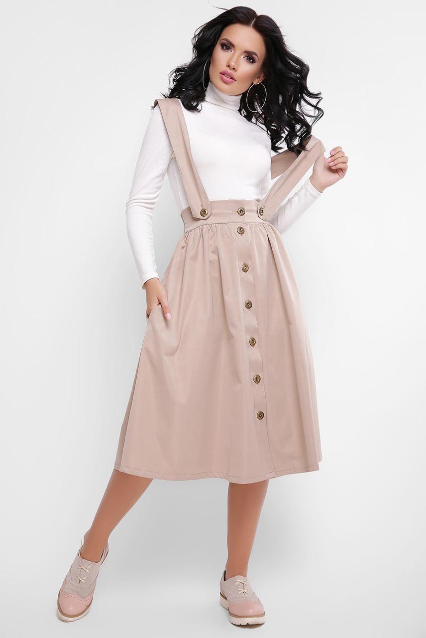 50cd6650f99 Купить Женскую расклёшенную юбка-миди на бретелях в расцветках ...