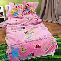 Полуторное детское постельное бельё из бязи ФЕЯ розовый (150*220)