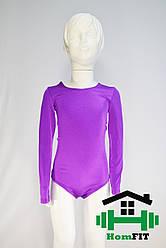 Купальник для гимнастики и танцев с длинным рукавом (цвет в ассортименте) 2XS, Фиолетовый