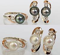 Набор серебряных украшений с жемчугом (ch0035)