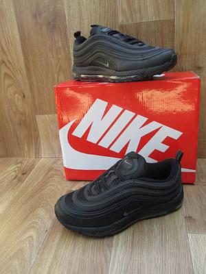 Мужские Кроссовки  в стиле Nike Air Max 97 черные кожа и сетка