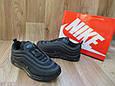 Мужские Кроссовки  в стиле Nike Air Max 97 черные кожа и сетка, фото 3
