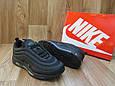 Мужские Кроссовки  в стиле Nike Air Max 97 черные кожа и сетка, фото 5
