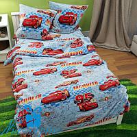 Полуторное детское постельное бельё из бязи ТАЧКИ (150*220)