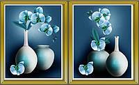 """Алмазная вышивка диптих """" Голубая орхидея в вазе"""""""