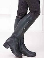 Женские кожаные сапоги на невысокм каблуке  Возможен отшив в других цветах кожи и замши, фото 1